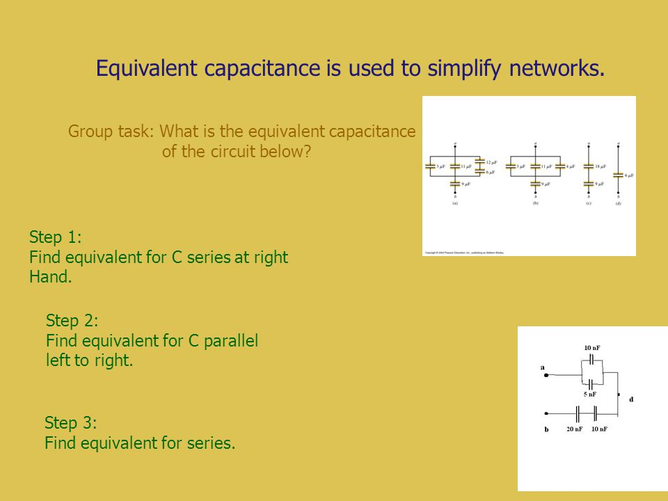 Equivalent capacitance is used to simplify networks.