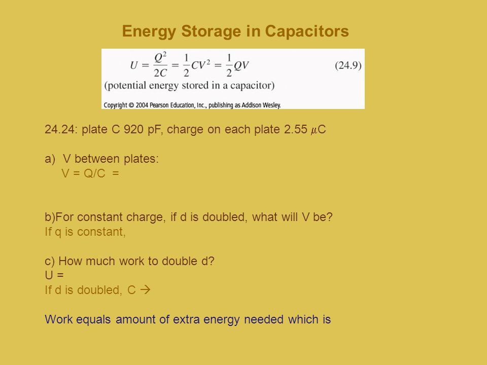 Energy Storage in Capacitors