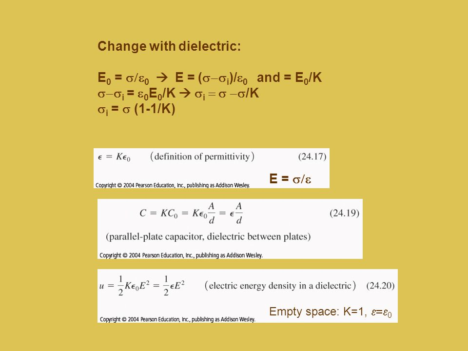 Change with dielectric: E0 = s/e0  E = (s-si)/e0 and = E0/K