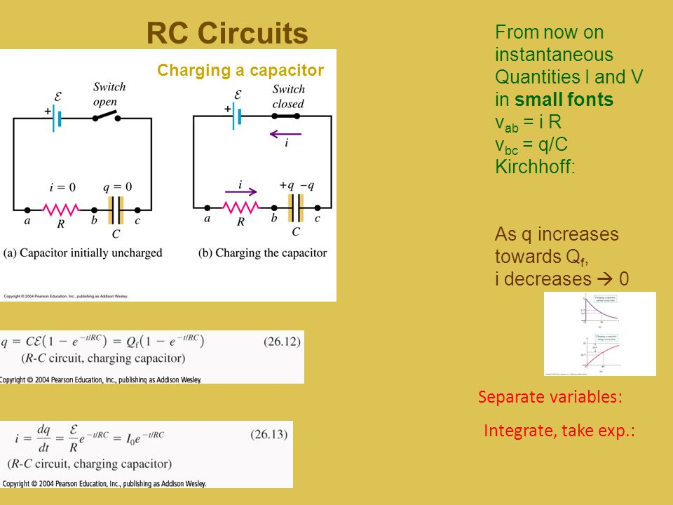 RC Circuits From now on instantaneous Quantities I and V