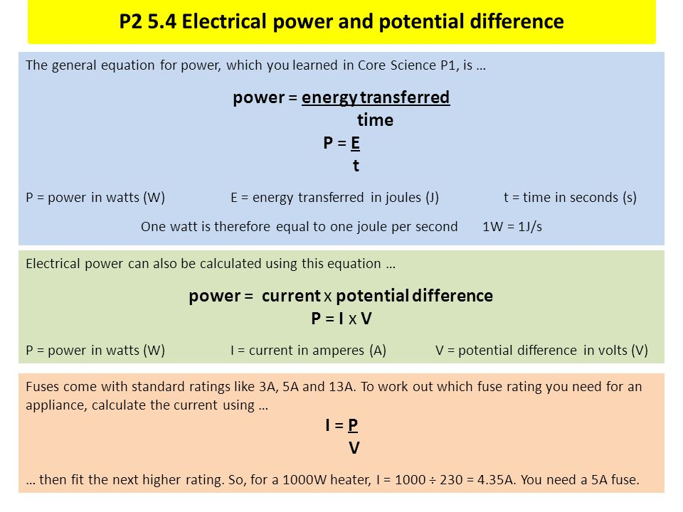 P2 5.4 Electrical power and potential difference