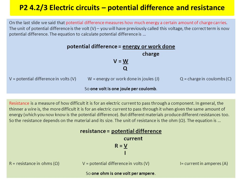 P2 4.2/3 Electric circuits – potential difference and resistance