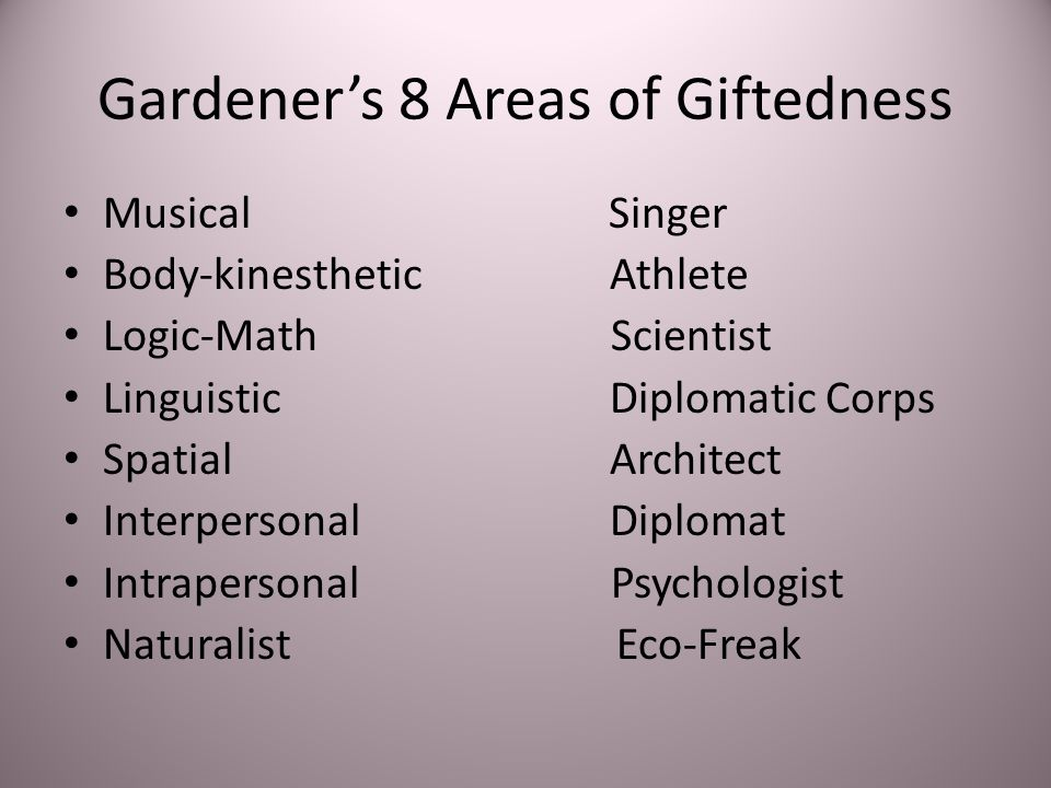 Gardener's 8 Areas of Giftedness