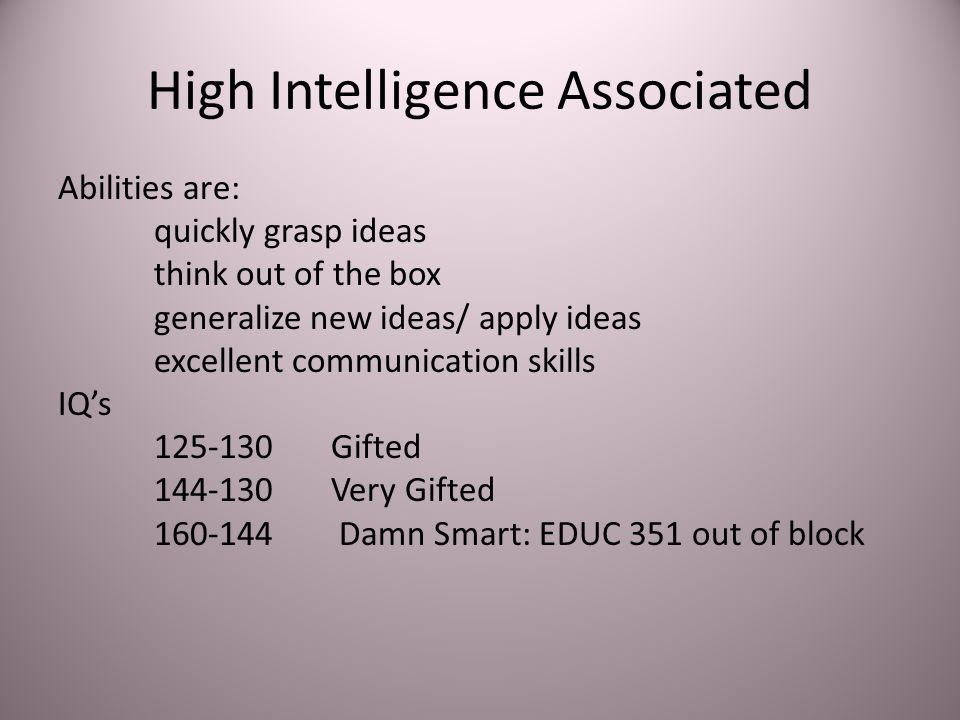 High Intelligence Associated