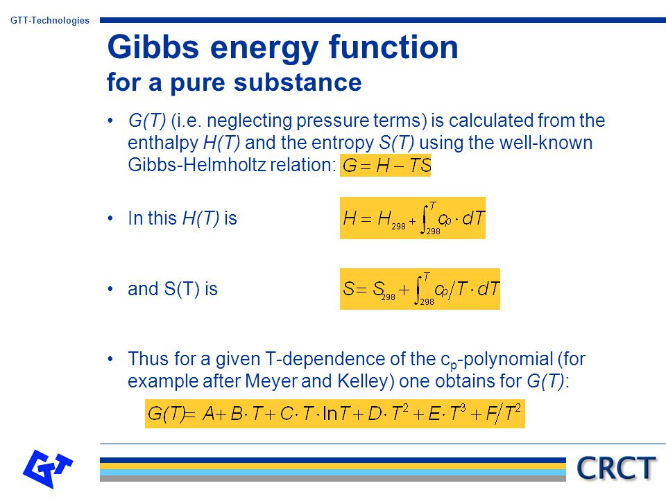 Gibbs energy function for a pure substance