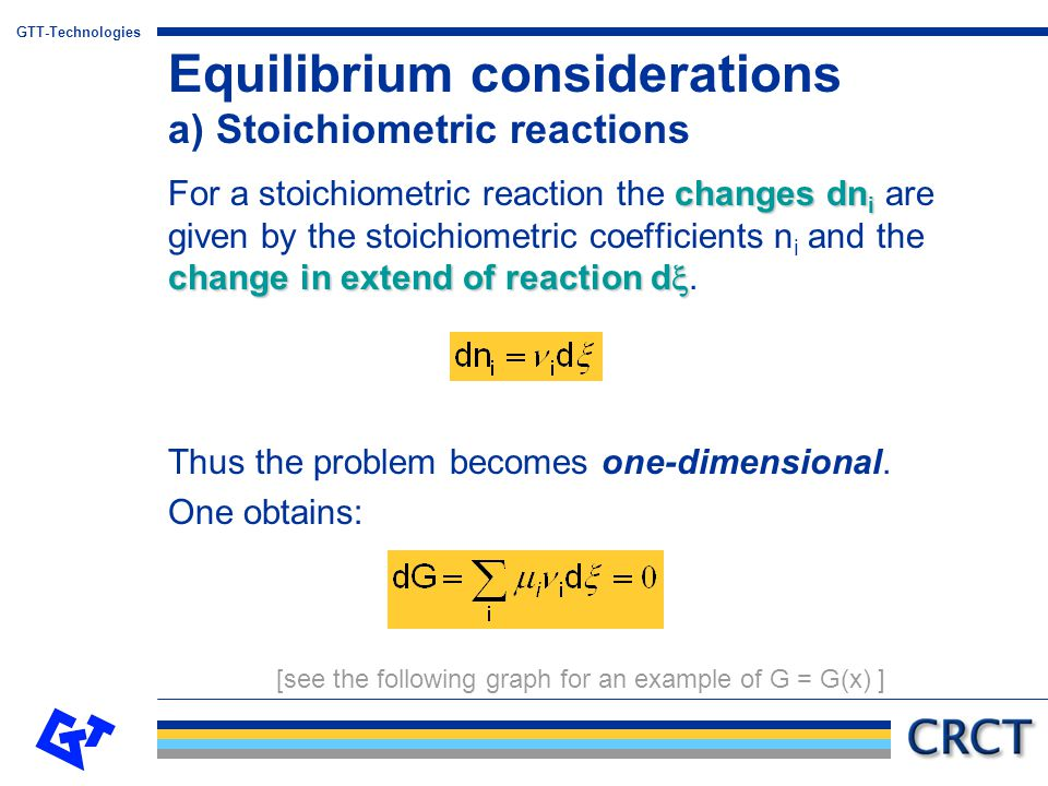 Equilibrium considerations a) Stoichiometric reactions