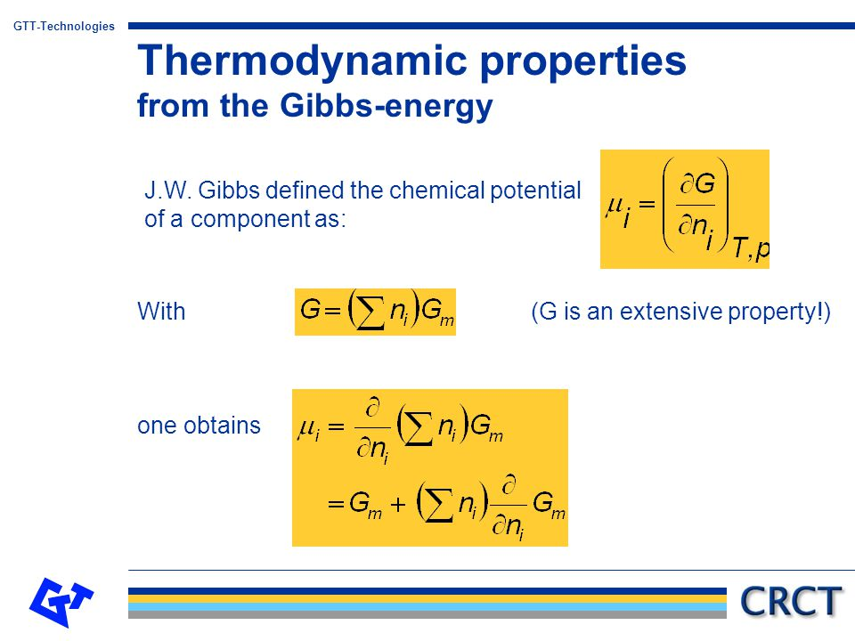 Thermodynamic properties from the Gibbs-energy