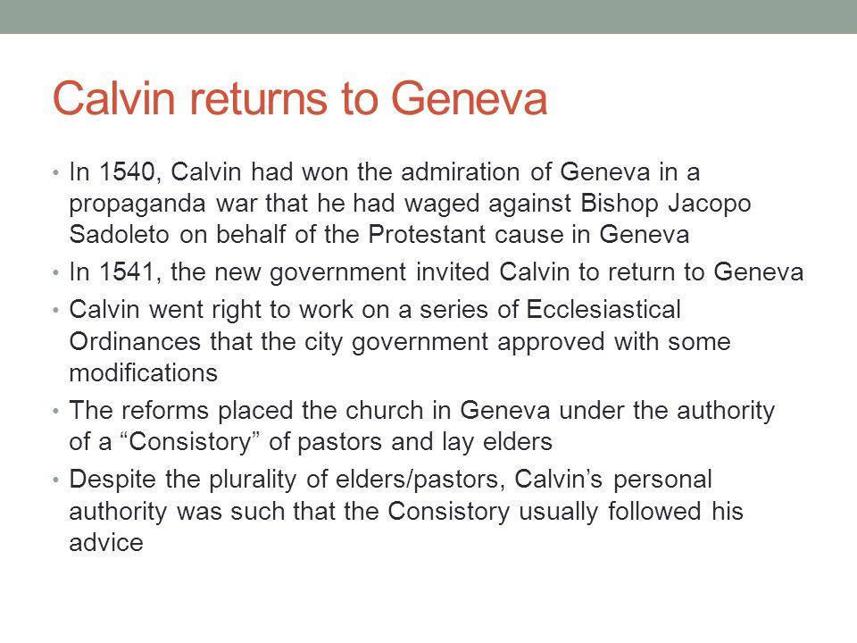 Calvin returns to Geneva