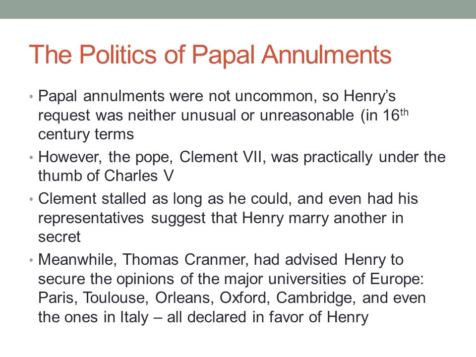 The Politics of Papal Annulments