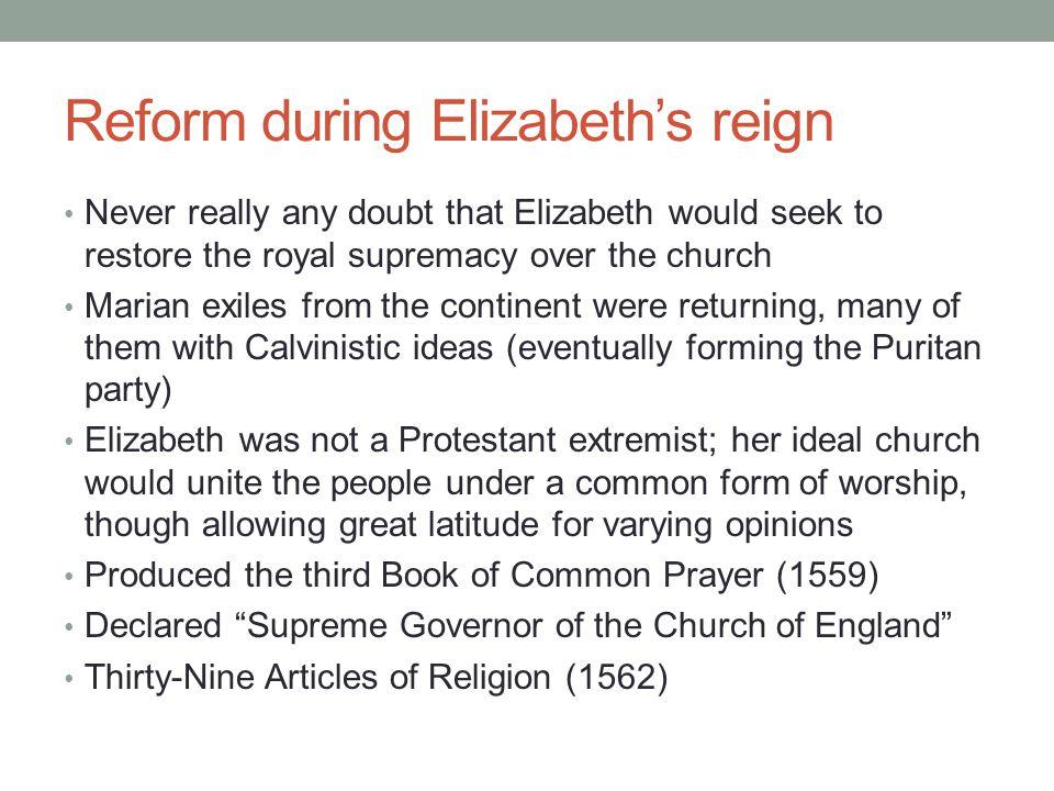 Reform during Elizabeth's reign
