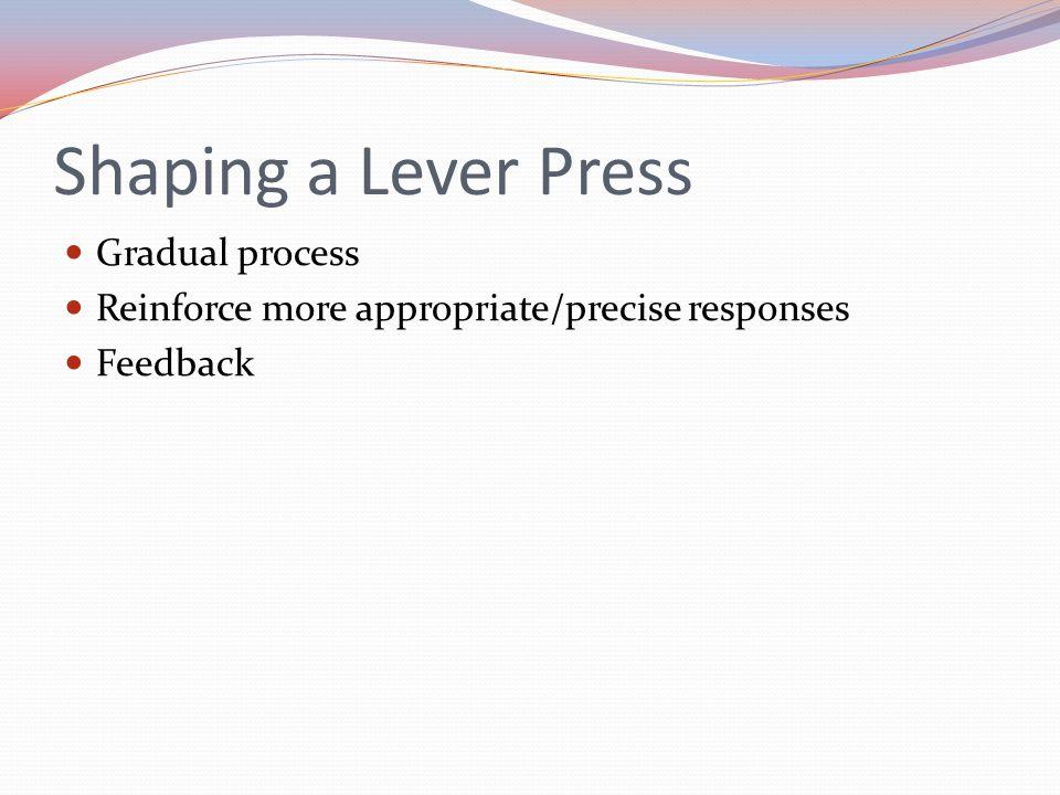 Shaping a Lever Press Gradual process