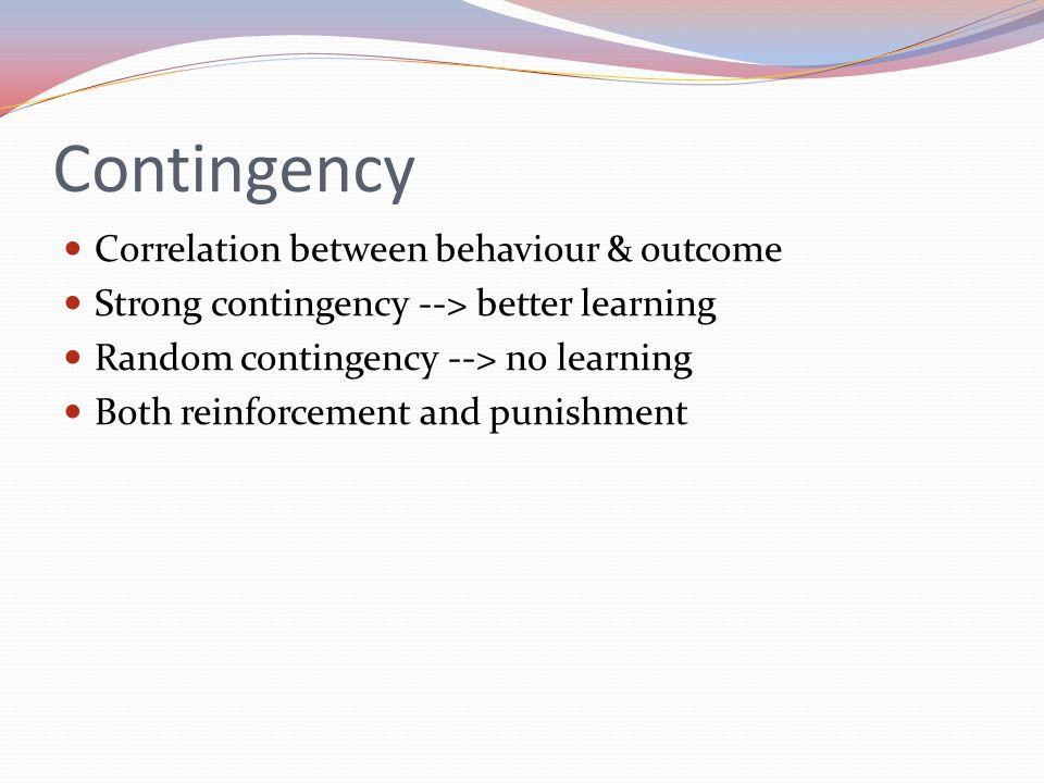 Contingency Correlation between behaviour & outcome