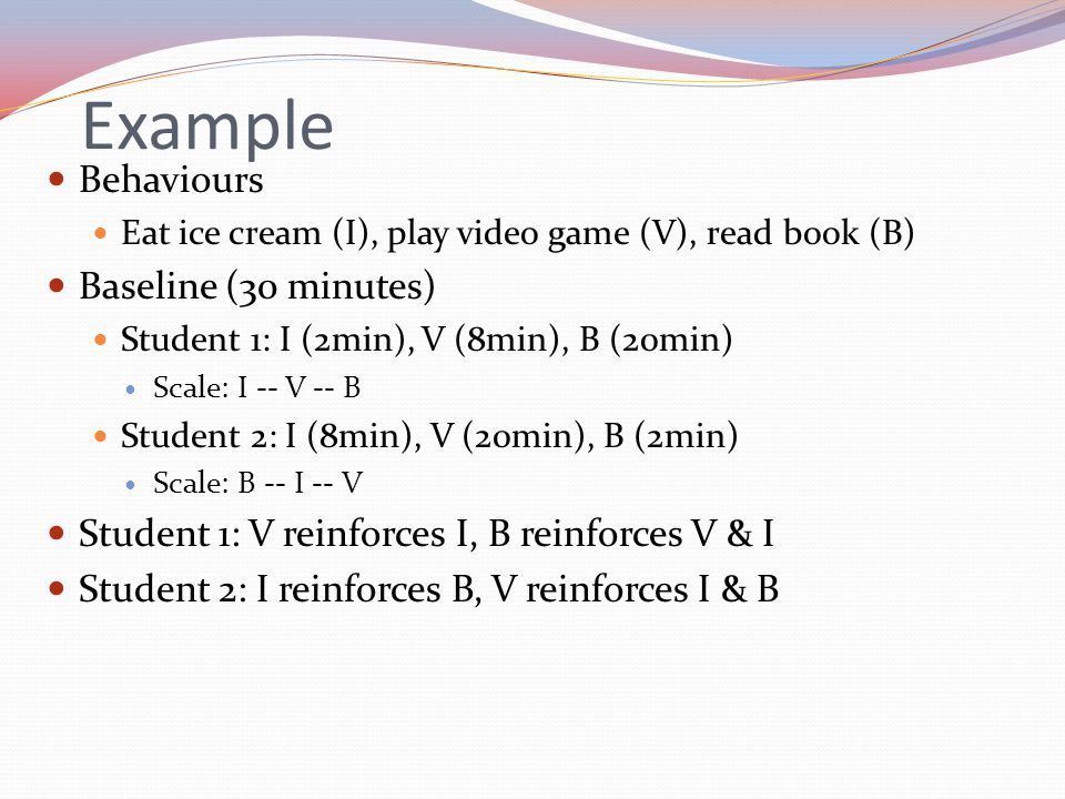 Example Behaviours Baseline (30 minutes)