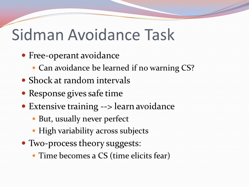 Sidman Avoidance Task Free-operant avoidance Shock at random intervals