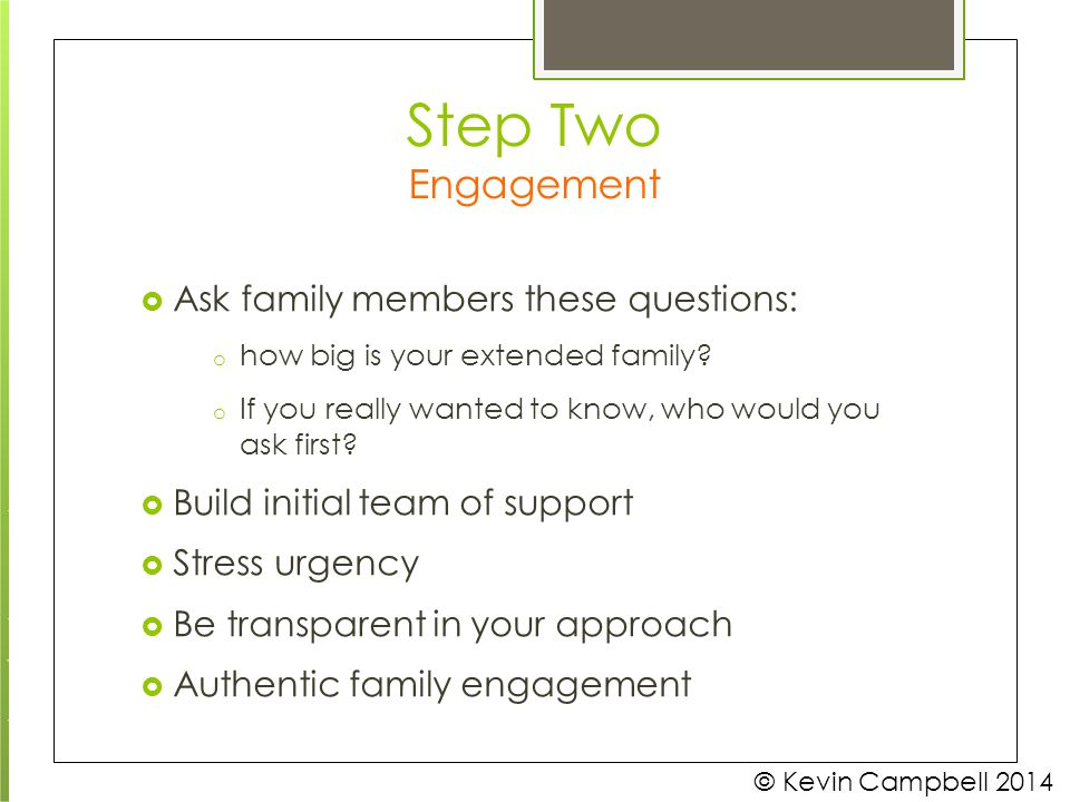 Step Two Engagement how big is your extended family