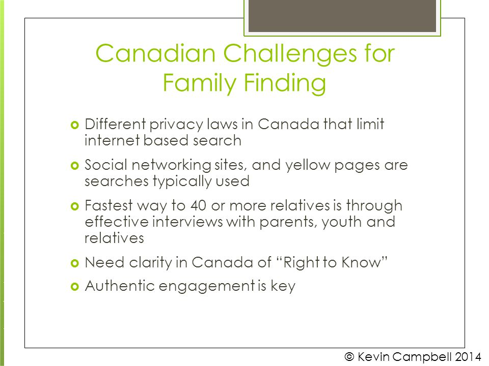 Canadian Challenges for Family Finding