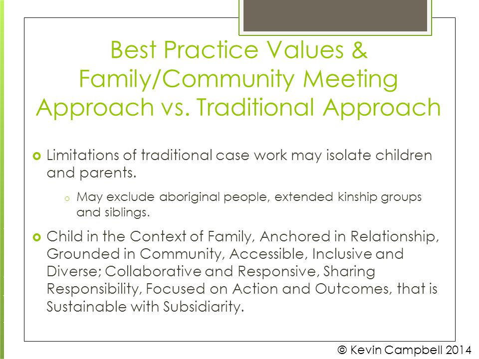 Best Practice Values & Family/Community Meeting