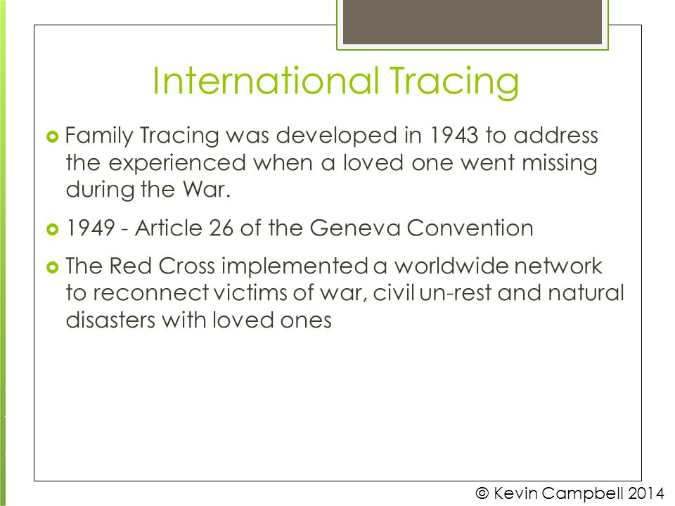 International Tracing