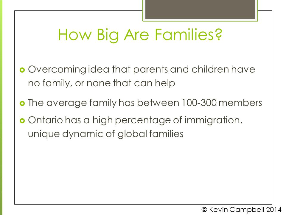 How Big Are Families  Overcoming idea that parents and children have no family, or none that can help.