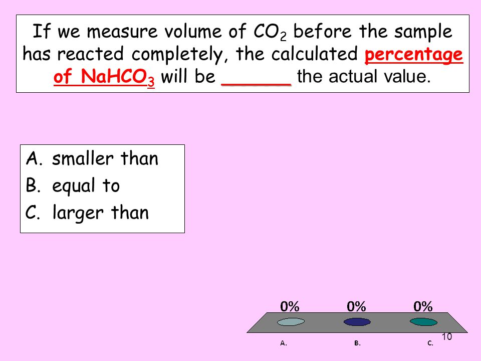 If we measure volume of CO2 before the sample has reacted completely, the calculated percentage of NaHCO3 will be ______ the actual value.