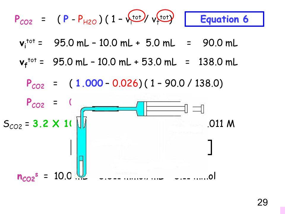 PCO2 = ( P - PH2O ) ( 1 – vitot / vftot)
