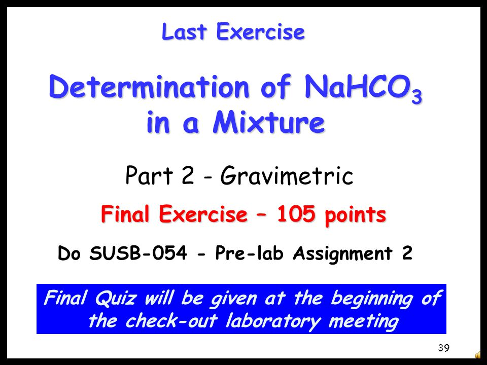 Determination of NaHCO3 in a Mixture