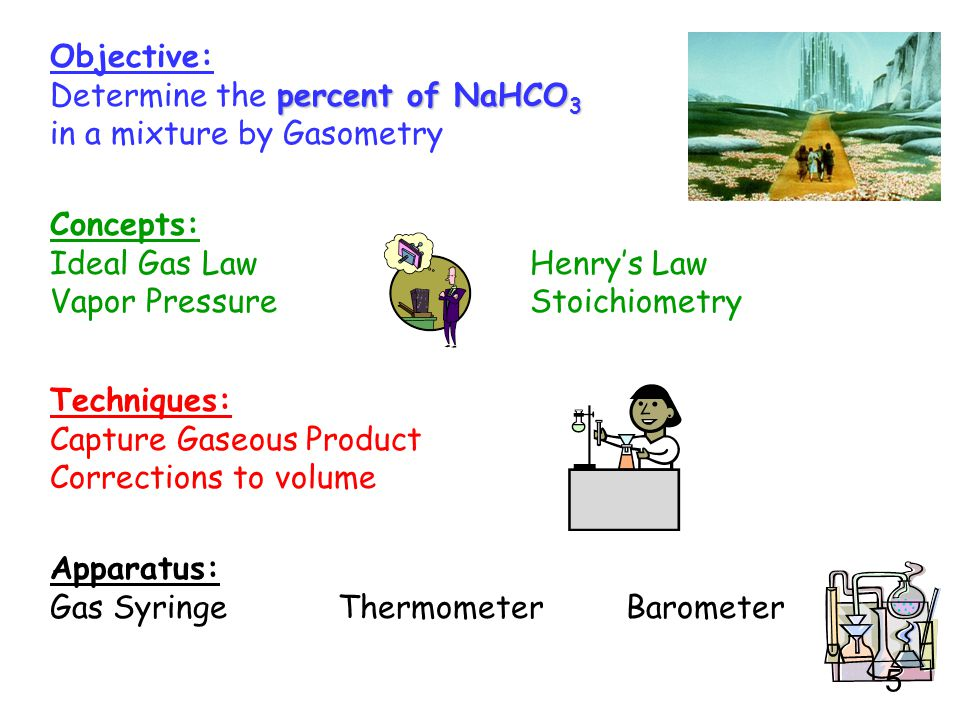 Determine the percent of NaHCO3 in a mixture by Gasometry
