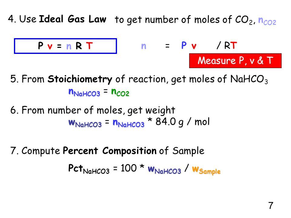 to get number of moles of CO2, nCO2