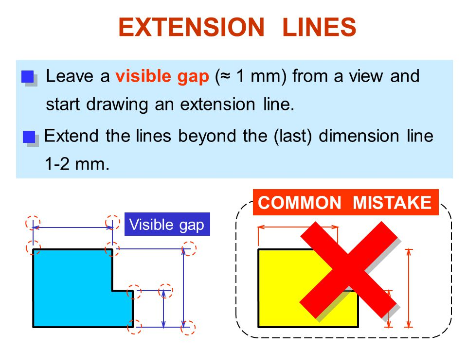 EXTENSION LINES Leave a visible gap (≈ 1 mm) from a view and start drawing an extension line.