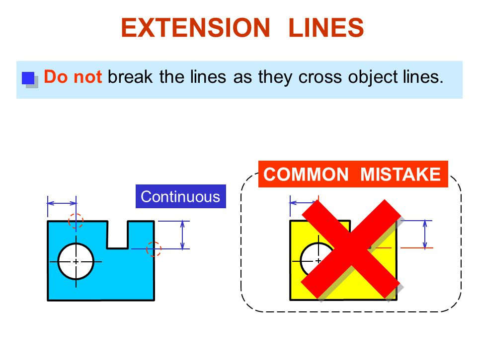 EXTENSION LINES Do not break the lines as they cross object lines.