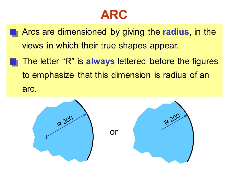 ARC Arcs are dimensioned by giving the radius, in the
