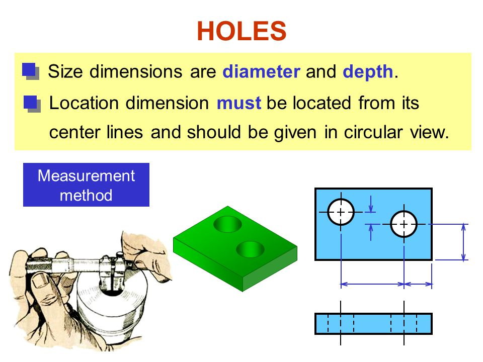 HOLES Size dimensions are diameter and depth.