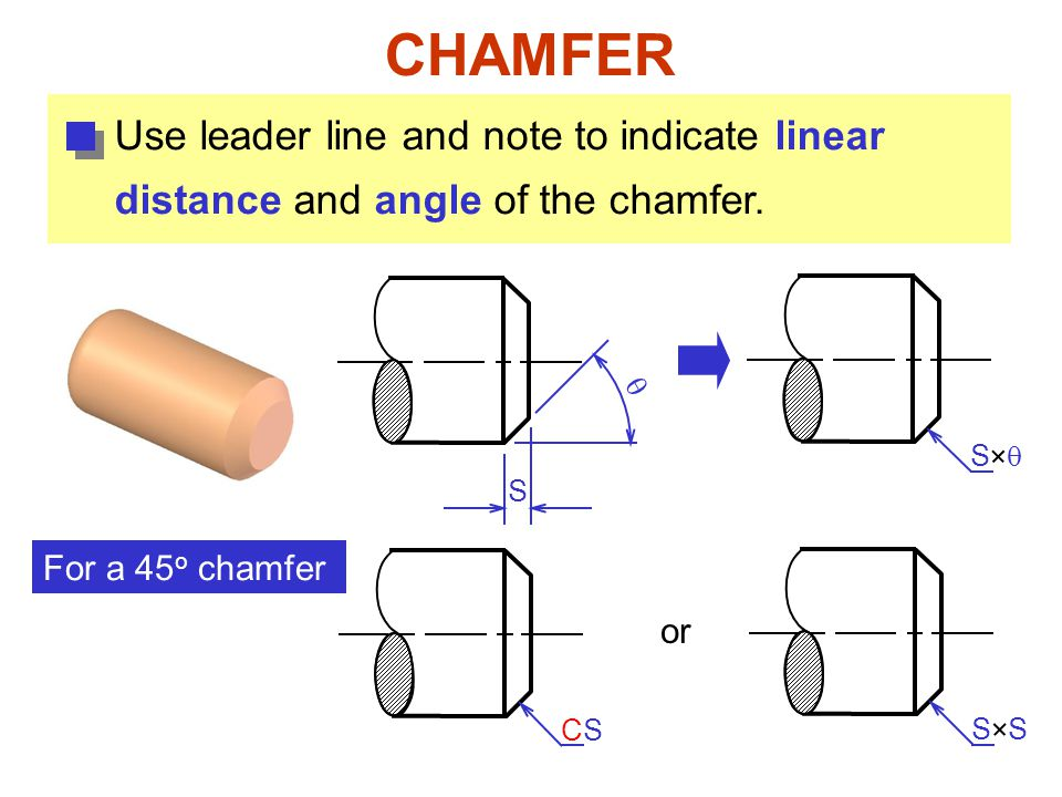 CHAMFER Use leader line and note to indicate linear