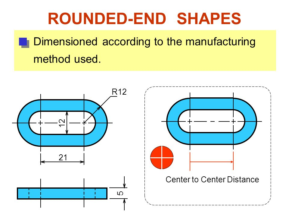 ROUNDED-END SHAPES Dimensioned according to the manufacturing