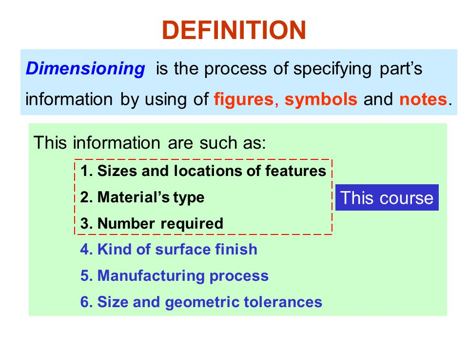 DEFINITION Dimensioning is the process of specifying part's