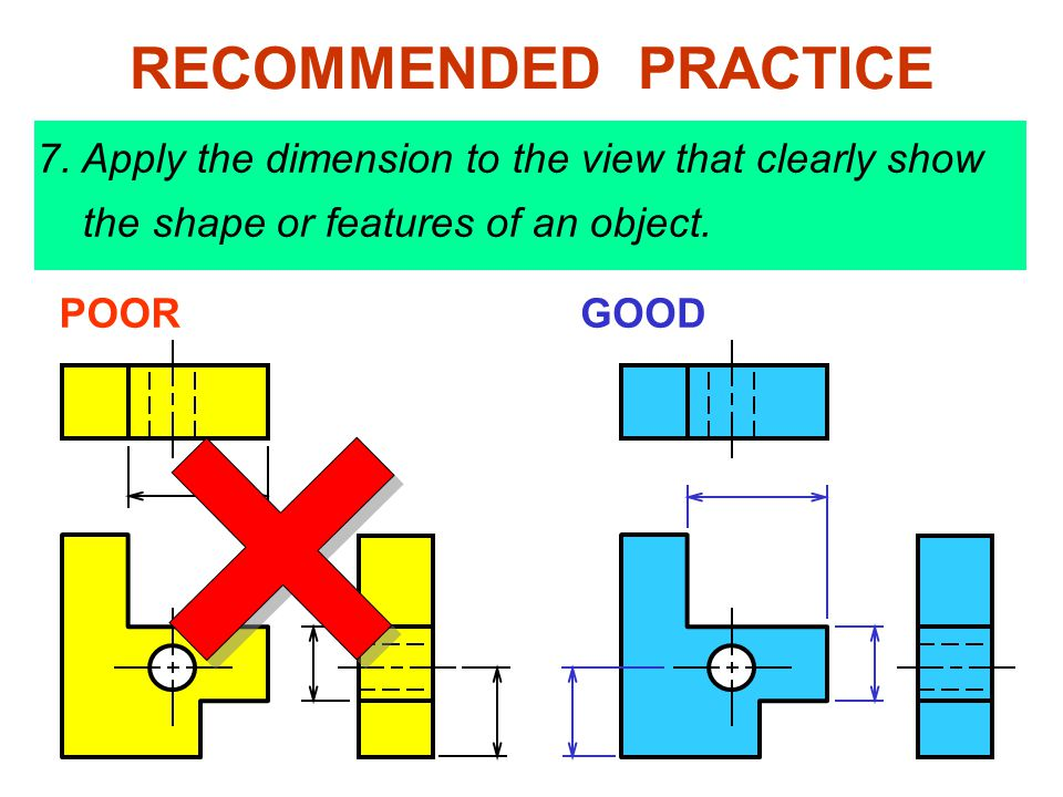 RECOMMENDED PRACTICE 7. Apply the dimension to the view that clearly show the shape or features of an object.