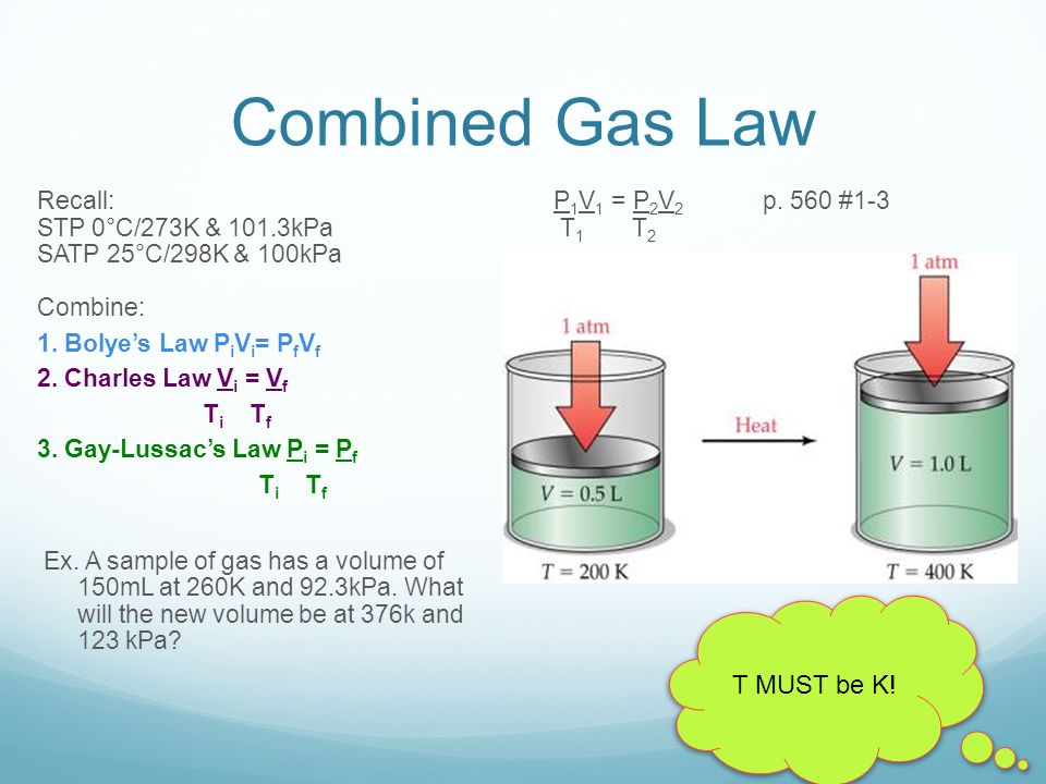Combined Gas Law T MUST be K!