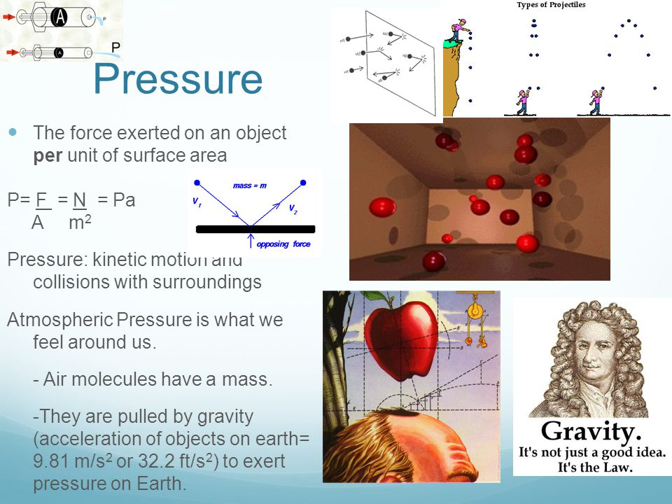 Pressure The force exerted on an object per unit of surface area