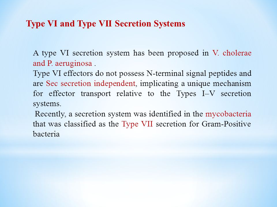 Type VI and Type VII Secretion Systems