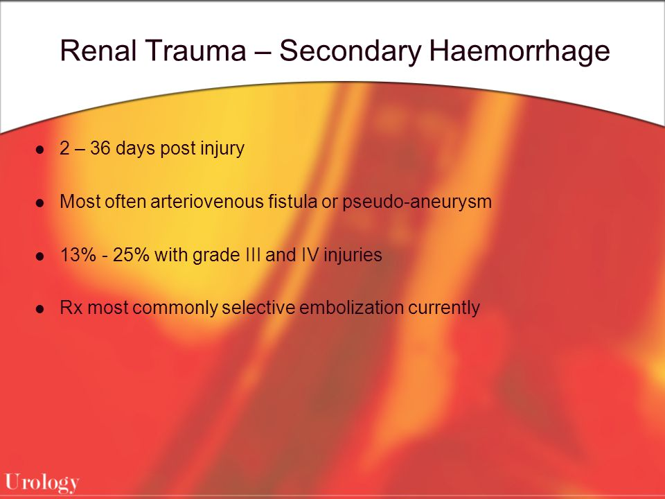 Renal Trauma – Secondary Haemorrhage