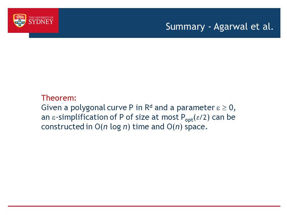 Summary - Agarwal et al. Theorem: