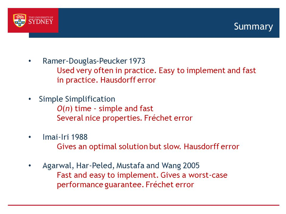 Summary Ramer–Douglas–Peucker 1973