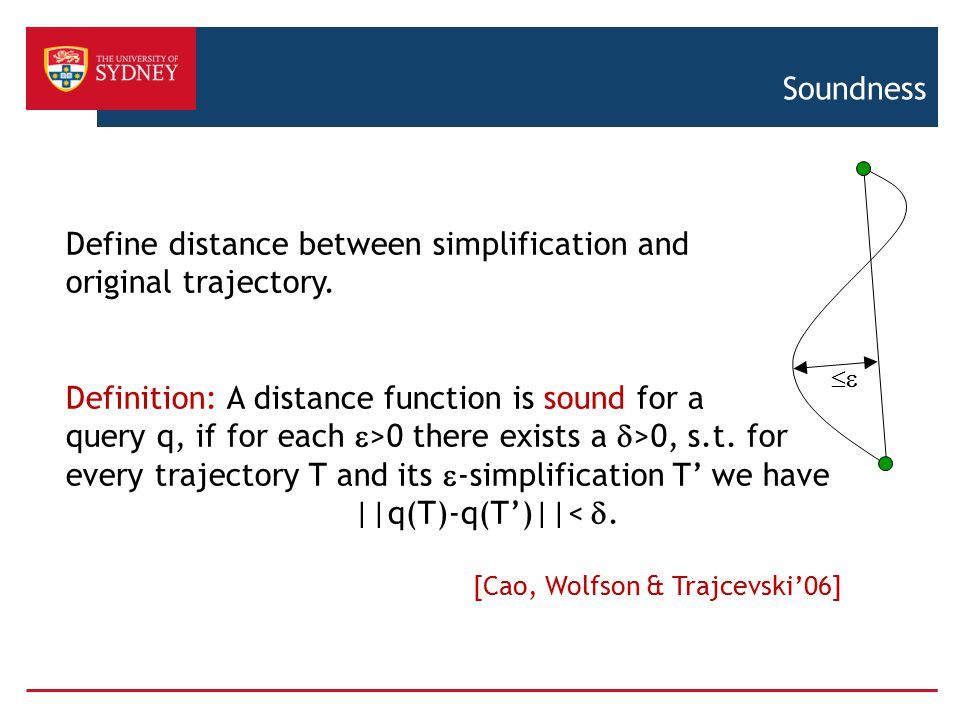 Define distance between simplification and original trajectory.