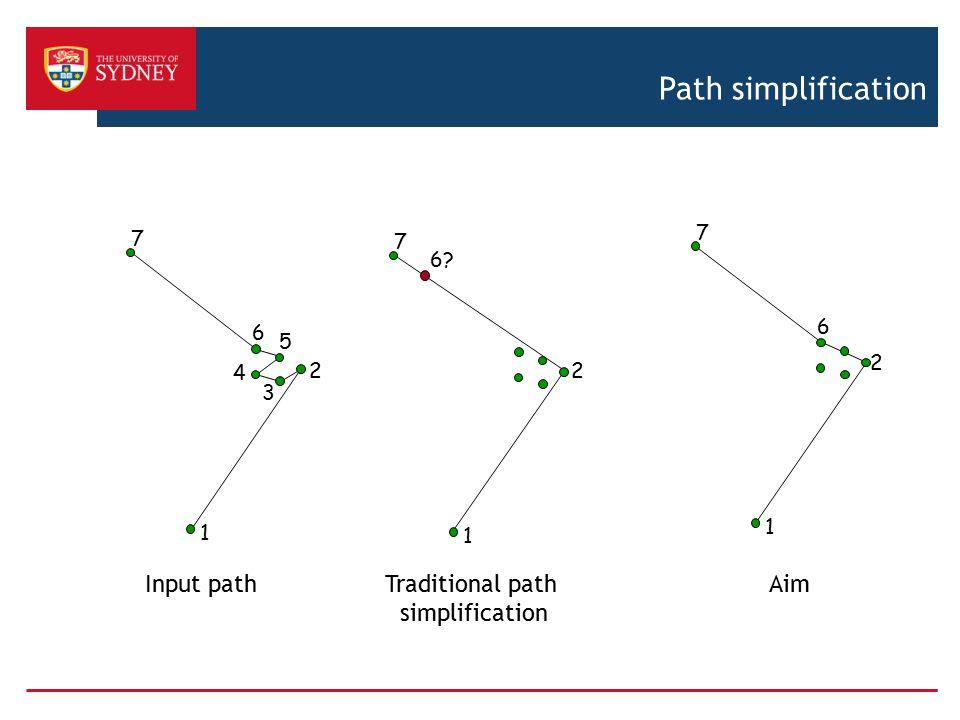Path simplification Input path Traditional path simplification Aim 1 2