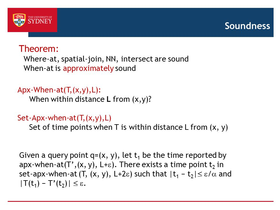 Soundness Theorem: Where-at, spatial-join, NN, intersect are sound