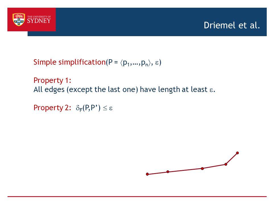 Driemel et al. Simple simplification(P = p1,…,pn, ) Property 1: