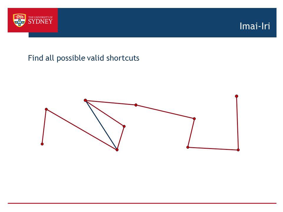 Imai-Iri Find all possible valid shortcuts
