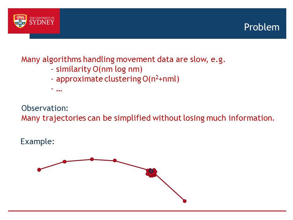 Problem Many algorithms handling movement data are slow, e.g.