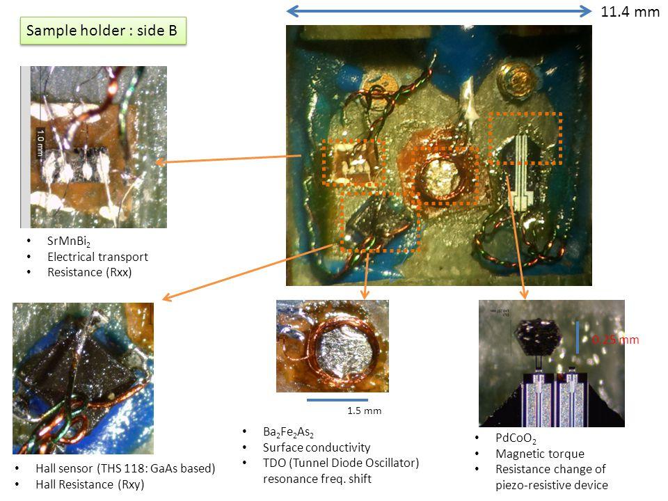 11.4 mm Sample holder : side B SrMnBi2 Electrical transport