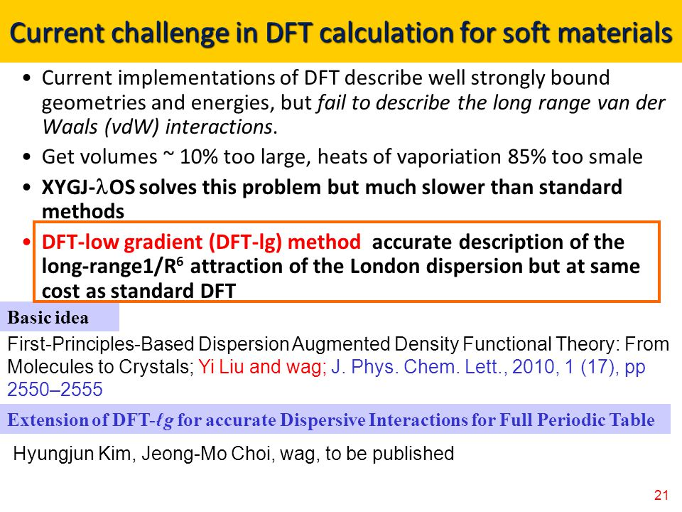Current challenge in DFT calculation for soft materials